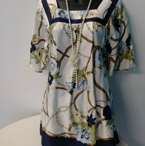 White Blouse With Navy Trim & Floral Print